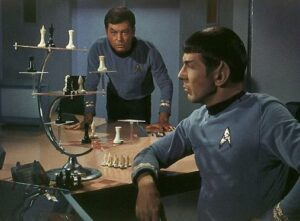 Mr. Spock and Dr. McCoy playing 3D chess