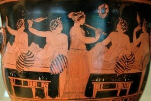 Scene from a symposium on an Attic krater