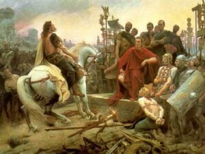 Vercingetorix surrenders to Caesar after the battle of Alesia