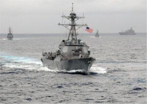 USS Lassen with flag