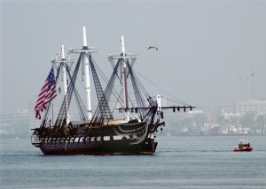 USS Constitution with battle ensign