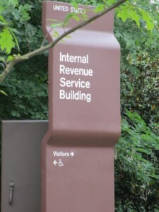 Internal Revenue Service sign