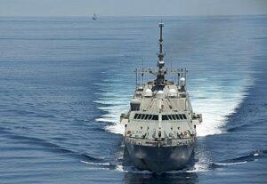 USS Fort Forth sailing near the Spratley Islands