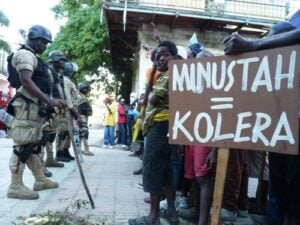 Haitians confronting peacekeepers about cholera