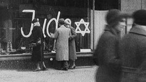 Window defaced during Kristallnacht