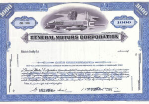 GM specimen stock certificate