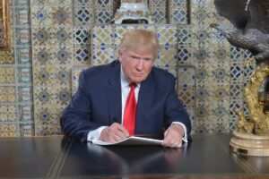 President Trump writing his inaugural address