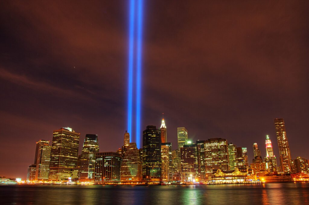 New York skyline with tribute in light