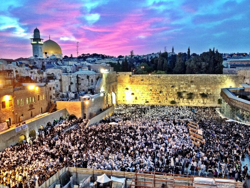 The Western Wall at dawn on Shavuot