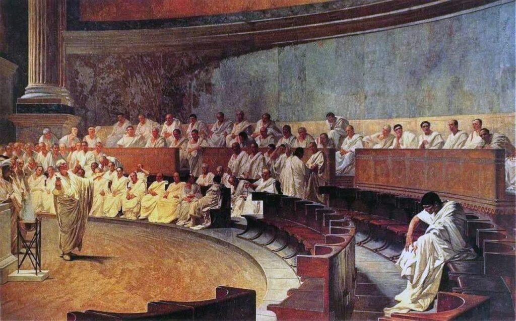 Cicero and Cataline in the Senate