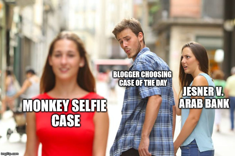 """The Distracted Boyfriend meme, with the boyfriend looking at """"Monkey Selfie Case"""" instead of """"Jesner v. Arab Bank"""""""