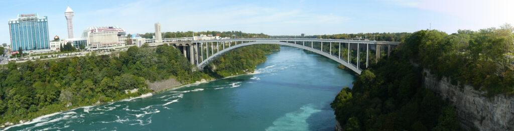 Panoramic view of the Rainbow Bridge, Niagara Falls