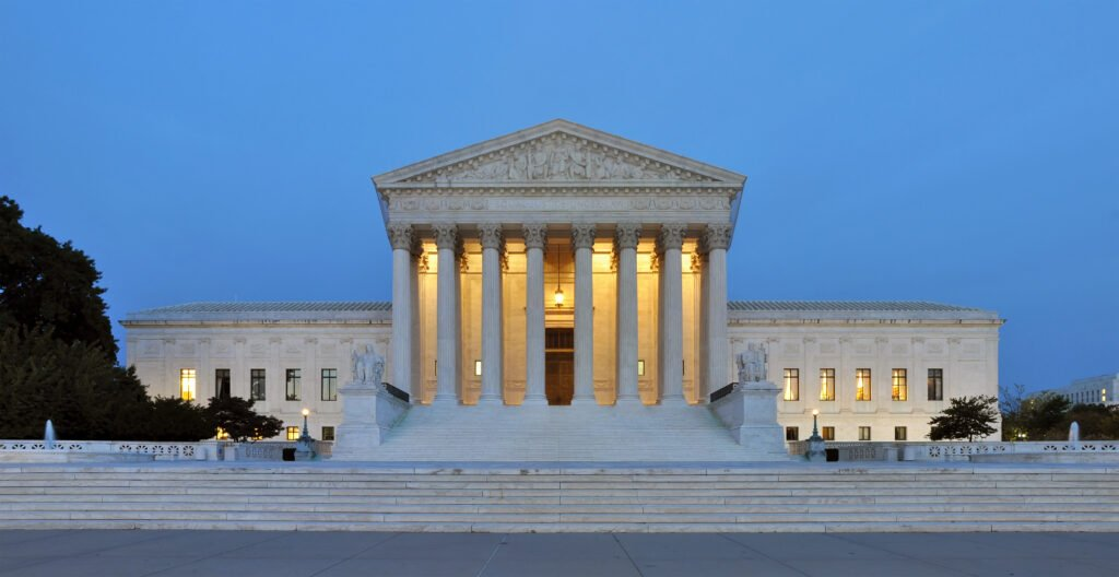 Supreme Court building in the evening