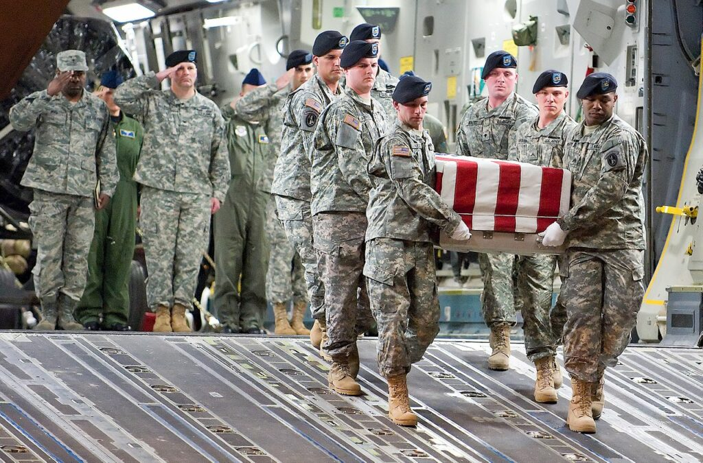 Saluting a fallen soldier at Dover AFB